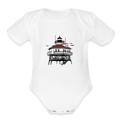Lighthouse Drawing Illustration - Organic Short Sleeve Baby Bodysuit
