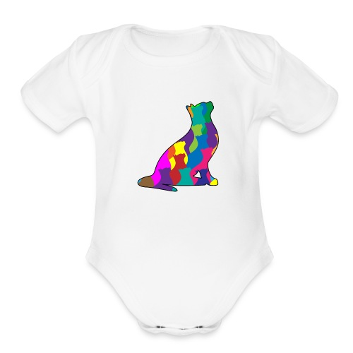 Colorful Cat Collage Silhouette - Organic Short Sleeve Baby Bodysuit
