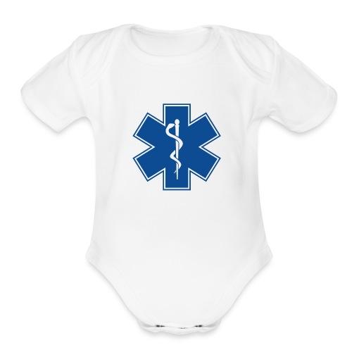 EMT Health Care Rod of Asclepius Medical Symbol - Organic Short Sleeve Baby Bodysuit