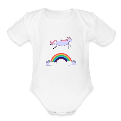 Flying Unicorn - Organic Short Sleeve Baby Bodysuit