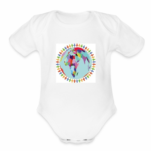 Community Group/Earth Globe/Earth Day/ Human Frame - Organic Short Sleeve Baby Bodysuit