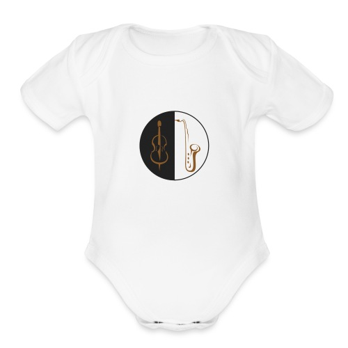 double bass sax - Organic Short Sleeve Baby Bodysuit