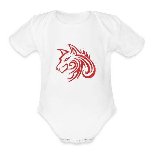 3d31c4ec40ea67a81bf38dcb3d4eeef4 wolf 1 red wolf c - Organic Short Sleeve Baby Bodysuit