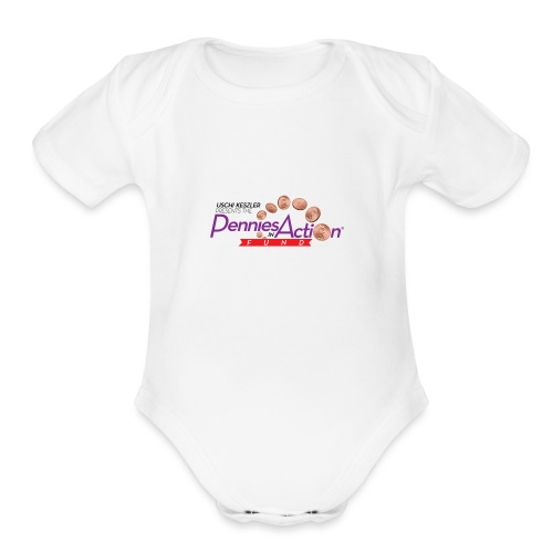 Pennies In Action Logo - Organic Short Sleeve Baby Bodysuit