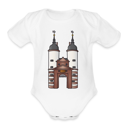 Bridge gate Heidelberg, FRG - Organic Short Sleeve Baby Bodysuit