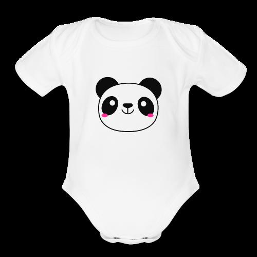 Panda Smiling Special Gift - Organic Short Sleeve Baby Bodysuit