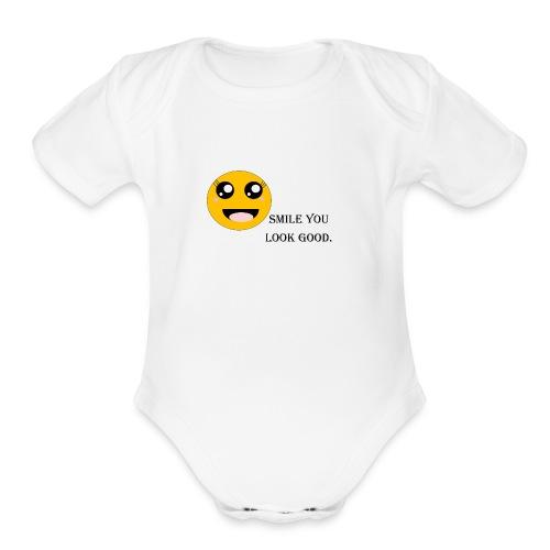 Smile - Organic Short Sleeve Baby Bodysuit