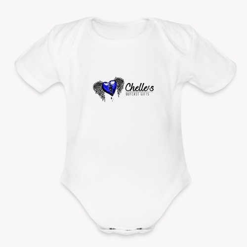 Blue Stitched heart logo - Organic Short Sleeve Baby Bodysuit