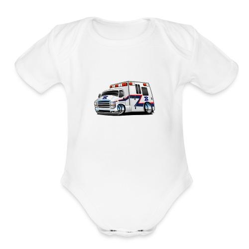 Paramedic EMT Ambulance Rescue Truck Cartoon - Organic Short Sleeve Baby Bodysuit