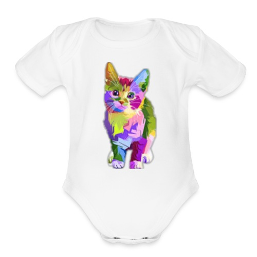 American Shorthair happy - Organic Short Sleeve Baby Bodysuit