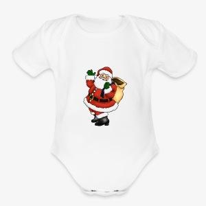 santa - Short Sleeve Baby Bodysuit