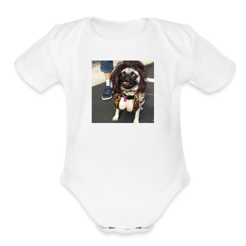 Chloe as Snooki Pug - Organic Short Sleeve Baby Bodysuit