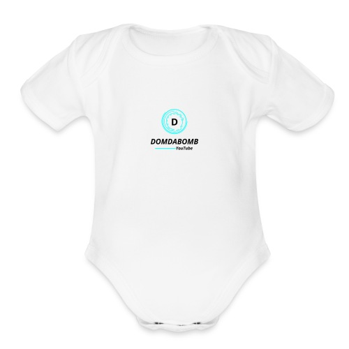 Lit DomDaBomb Logo For WHITE or Light COLORS Only - Organic Short Sleeve Baby Bodysuit