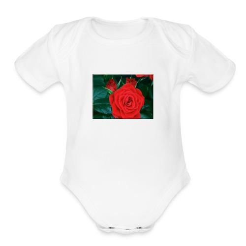 111885 Blooming Roses - Organic Short Sleeve Baby Bodysuit