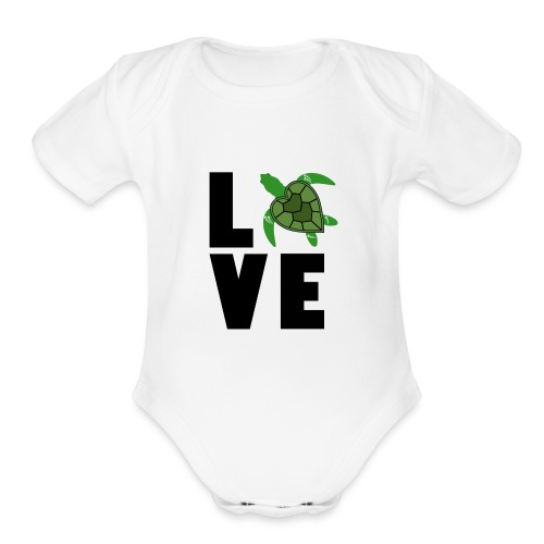 I Love Turtles - Organic Short Sleeve Baby Bodysuit