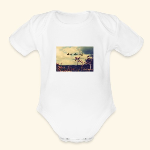 stay strong calforina - Organic Short Sleeve Baby Bodysuit
