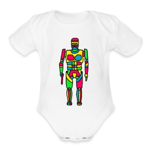 Cartoon Robocop in Color - Short Sleeve Baby Bodysuit