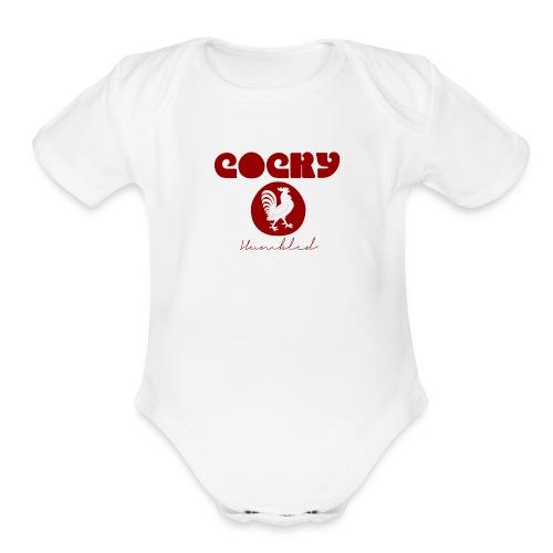Red Humble Cock 1 - Organic Short Sleeve Baby Bodysuit