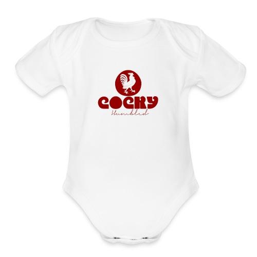 Red Humble Cock 3 - Organic Short Sleeve Baby Bodysuit