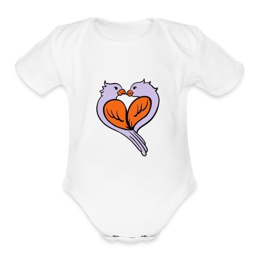 Love birds... - Organic Short Sleeve Baby Bodysuit
