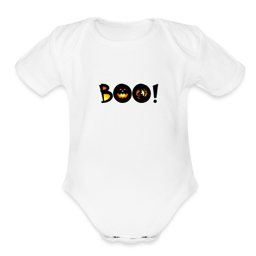 Happy Halloween Boo 1 - Organic Short Sleeve Baby Bodysuit