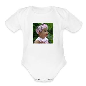 butterfly button - Short Sleeve Baby Bodysuit