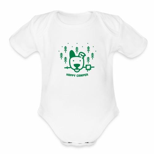 Happy Camping Dog - Organic Short Sleeve Baby Bodysuit