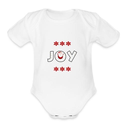 Christmas JOY Santa Clause Ugly Style - Organic Short Sleeve Baby Bodysuit