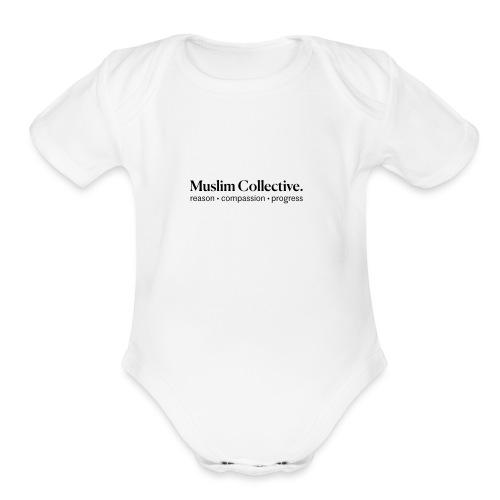 Muslim Collective Logo + tagline - Organic Short Sleeve Baby Bodysuit