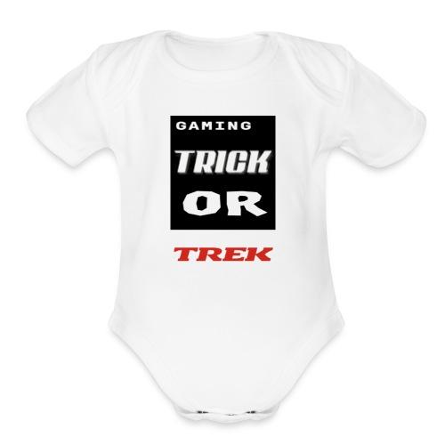 gaming trick or trek - Organic Short Sleeve Baby Bodysuit