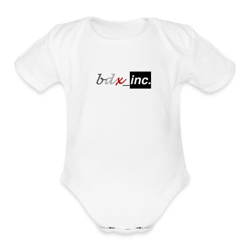 Solid Logo (Black+White) - Organic Short Sleeve Baby Bodysuit