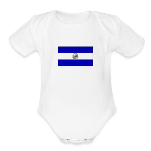 Diseño bandera de el salvador - Organic Short Sleeve Baby Bodysuit