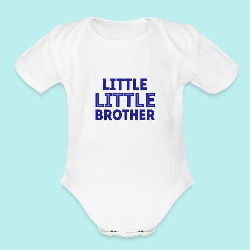 Little Little Bro blue png - Organic Short Sleeve Baby Bodysuit