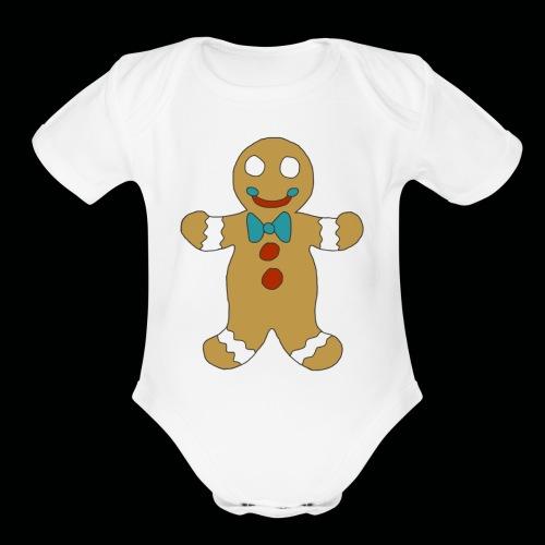 Gingerbread Man - Organic Short Sleeve Baby Bodysuit