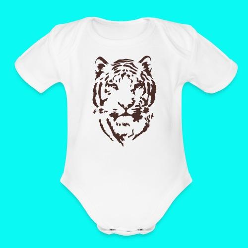Tiger Printed T-shirt - Organic Short Sleeve Baby Bodysuit
