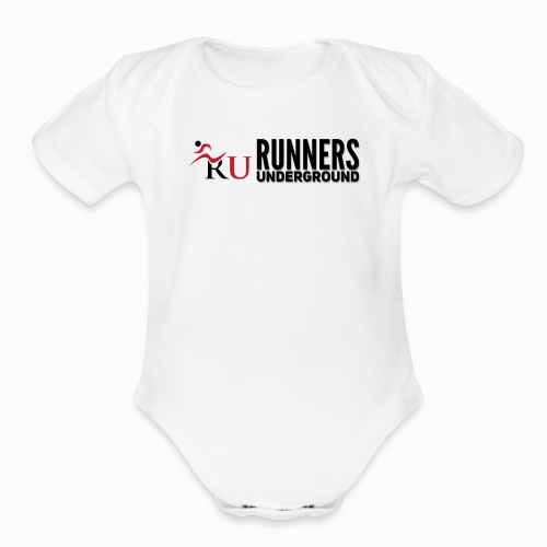 Runners Underground Logo BLK - Organic Short Sleeve Baby Bodysuit