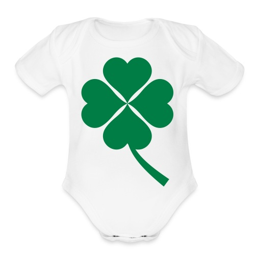 Green Four Leaf Clover - Organic Short Sleeve Baby Bodysuit