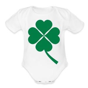 Green Four Leaf Clover - Short Sleeve Baby Bodysuit
