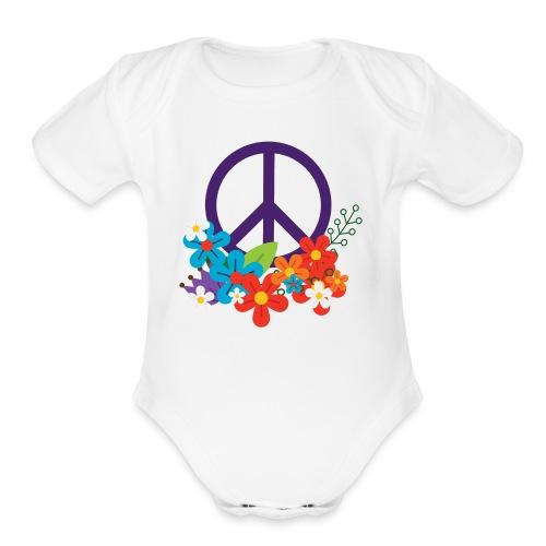 Hippie Peace Design - Organic Short Sleeve Baby Bodysuit