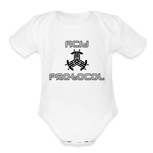ACID PROTOCOL OFFICIAL LOGO BLACK - Organic Short Sleeve Baby Bodysuit