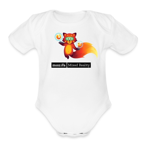 Foxr Floating (black MR logo) - Organic Short Sleeve Baby Bodysuit