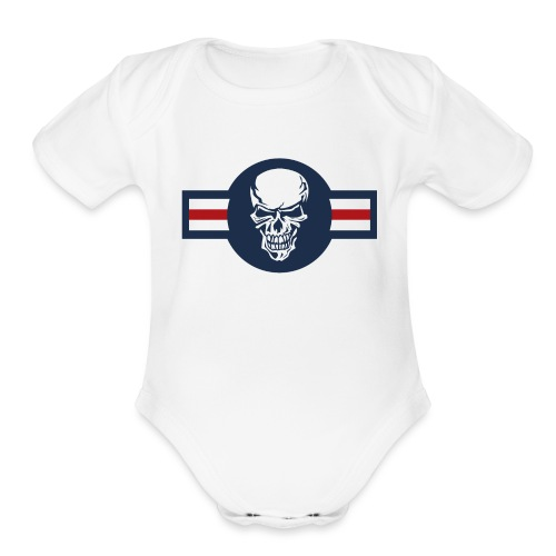 Military aircraft roundel emblem with skull - Organic Short Sleeve Baby Bodysuit