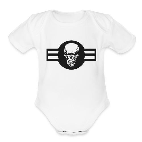 Military aircraft roundel emblem with skull - Organic Short Sleeve Baby Bodysuit