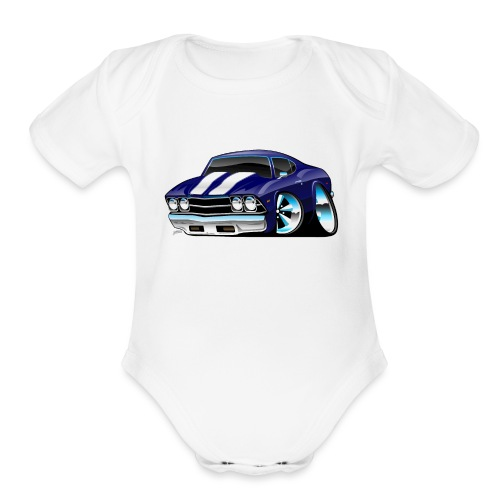 Classic American Muscle Car Cartoon - Organic Short Sleeve Baby Bodysuit