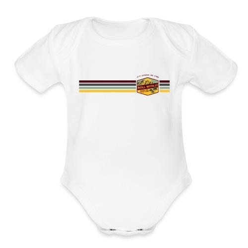 Badge and Stripes - Organic Short Sleeve Baby Bodysuit