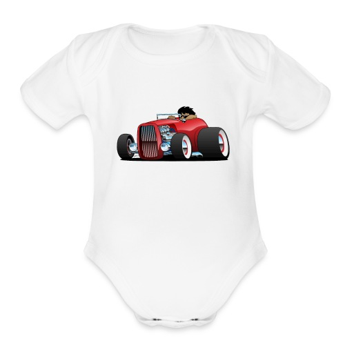 Highboy hot rod red roadster - Organic Short Sleeve Baby Bodysuit