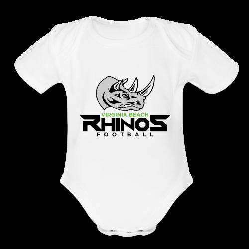 Rhino Shirt blck - Organic Short Sleeve Baby Bodysuit