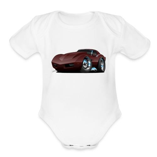Classic Seventies American Sports Car Cartoon - Organic Short Sleeve Baby Bodysuit