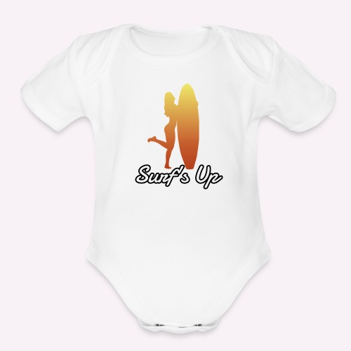 surfs up - Organic Short Sleeve Baby Bodysuit