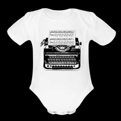Music Type   Vintage Typewriter - Organic Short Sleeve Baby Bodysuit